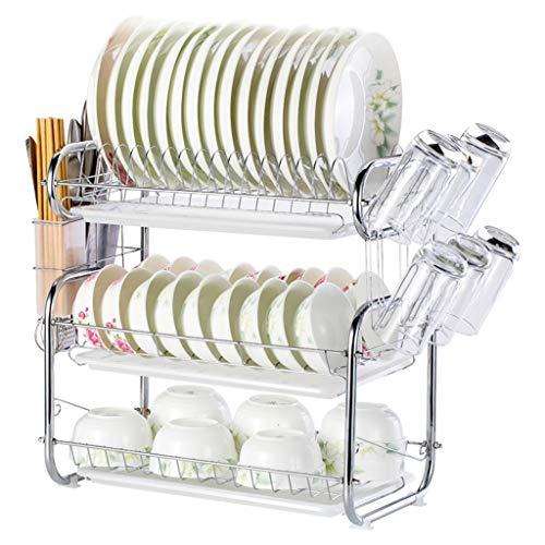 Estante para platos de acero inoxidable de 3 niveles, soporte para utensilios de cocina, bandeja de almacenamiento para secadora, platos, bandeja para platos, estante para platos, A