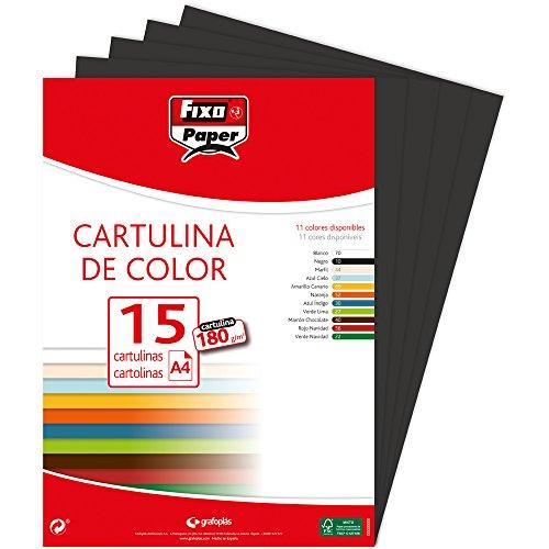 Fixo 11110610 - Confezione di 15 cartoncini, formato: A4, colore: nero
