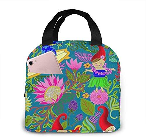 Bolsa de almuerzo de gnomos de jardín hawaiano para mujeres,niñas,niños,bolsa de picnic aislada,bolsa gourmet,enfriador,bolsa cálida para trabajo escolar,oficina,camping,viajes,pesca