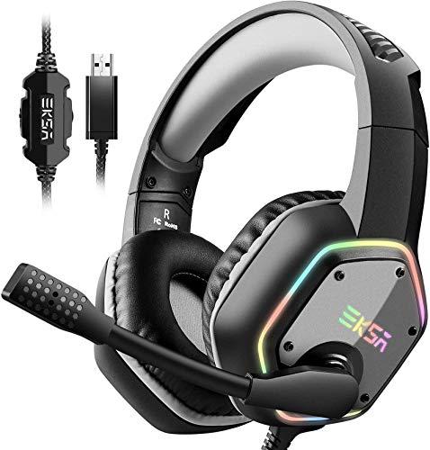 Casque Gaming USB EKSA, Casque Gamer Son Surround 7.1, Casque PS4, Casque de Jeu pour PC avec Micro Antibruit et Lumière RGB, Compatible avec PC, Playstation 4(Gris)