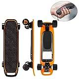 WYZQ Longboard De Skateboard Eléctrico con Control Remoto, Velocidad Máxima De 25 mph, Rango Máximo De 10 Millas, Motores Dobles 350W X 2, Longboard Eléctrico De Arce De 9 Capas,Naranja