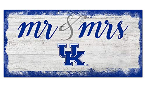 Fan Creations NCAA Kentucky Wildcats Unisex University of Kentucky Script Mr & Mrs Sign, Team Color, 6 x 12