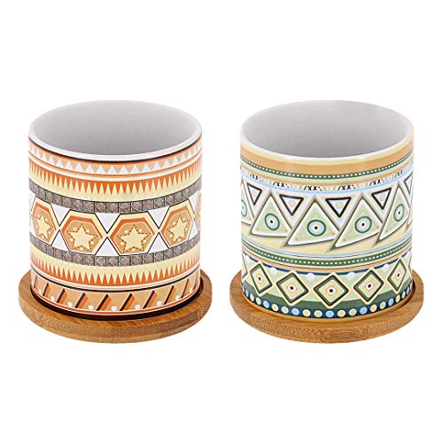 Segreto Succulent Plant Pots Mandala Pattern Flower Pots Ceramic Planter for Cactus Plants Container Bonsai Pots with Bamboo Tray and Drainage Hole for Home Decor,Set of 2