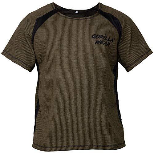 GORILLA WEAR Bodybuilding T-Shirt - Old School Work Out Top Herren - Augustine Rag Top Grün L/XL