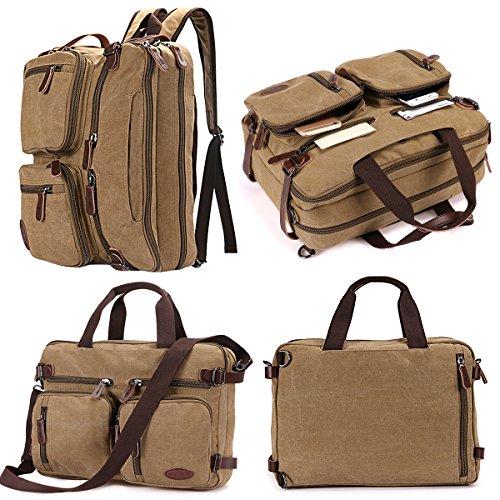 15.6 inch Laptop Backpack,Sheng TS Backpack Briefcase,Convertible Laptop Messenger Bag Backpack- Rucksack BookBag Daypack(Vintage Khaki Canvas, 15.6 inch)