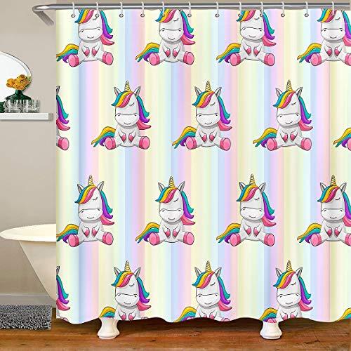 Kinder Einhorn Wasserdichtes Duschvorhang Textil Fantasy Einhorn für Jungen Teenager Regenbogen Geometrische Streifen Stoff Duschvorhang 180x180 Märchen Thema