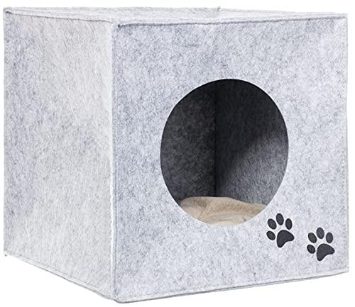 Brandsseller Cuccia in feltro per animali domestici, ca. 33 x 33 x 33 cm, cuccia per gatti con cuscino separato, pieghevole, grigio chiaro