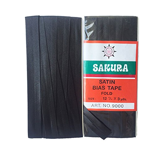 Sakura Satin Bias Tape Fold - Single Fold # Black Color 12 Mm. (3 Yards / Pack) Set of 4