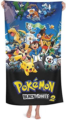 Toalla de playa de Pokémon con Pikachu y Ash Ketchum, para niños, con dibujos animados, toalla de playa, de deporte, toalla de verano, (A1, 80cm x 135cm)