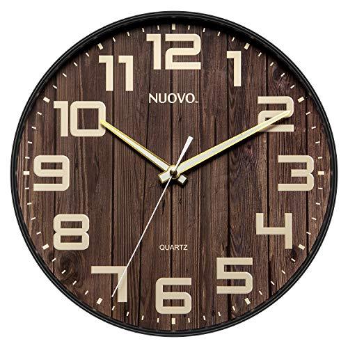 Nuovo Runde Wanduhr aus Holz, geräuschlos und tickt nicht, Retro, große Ziffern, für Wohnzimmer, Schlafzimmer, Küche (30 cm)