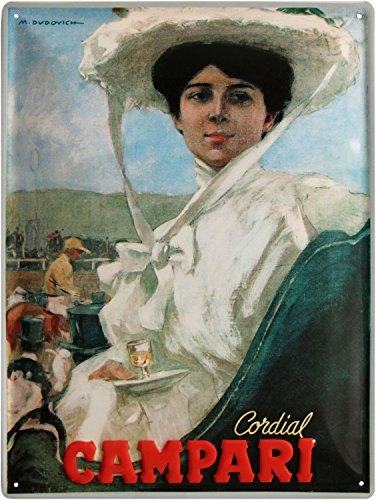 Cordial Campari Dame geprägt Nostalgie Reklame Blechschild 30x40 Blech 3040M26
