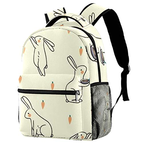 Rabbit Drinking Soup Backpack School Bag Bookbag Hiking Travel Rucksack