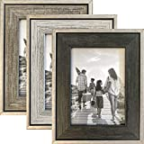 Tasse Verre 5x7 Rustic Picture Frames, Distressed Farmhouse-Style Table Frame, Brushed Industrial Silver Metal Frame with Wooden Insert, Built-In Table Stand, and Ready-to-Hang Hooks, Set of 3 (5' x 7', White, Gray, and Black)