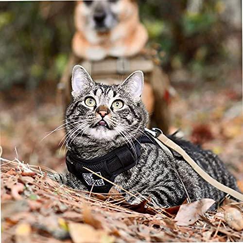 OneTigris Katzengeschirr mit Leine Claw Enforcement Taktisches Hundegeschirr Welpengeschirr Set Weich Katze Hund Weste für Kitten Hunde XS/XXS (Coyote Braun, XS)
