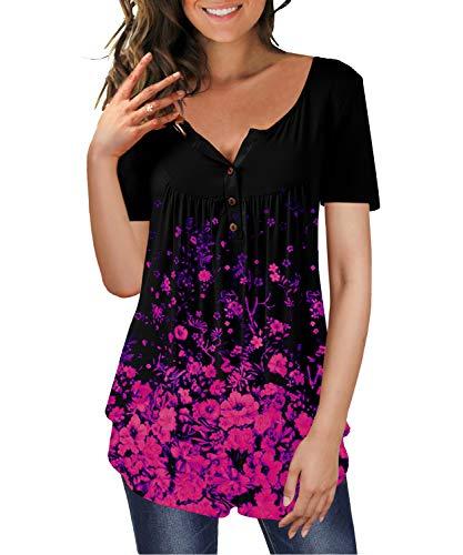 TUDOU Damen T-Shirt Langarm V-Ausschnitt Floral Knopfleiste Plissee Henley Bluse Casual Locker Blumen Tunika Tops (XL, Kurzarm-Schwarz lila)