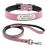 Didog Juego de collar y correa para perro de cuero suave con placa de identificación grabada personalizada, para perros pequeños medianos, rosa, talla M