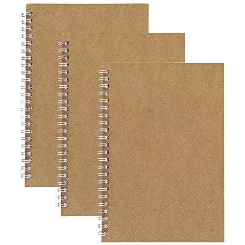 Cuadernos de Cuadrícula en Espiral A5, Pack de 3 Cubierta de Kraft Cuadrícula de 5 mm - Páginas de Cuadrada/Cuadriculado Papel Blanco de 5.3 x 7.5 Pulgadas