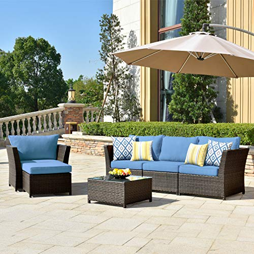 ovios Patio Furniture Set, Backyard Sofa Outdoor Furniture 6 Pcs Sets,PE Rattan Wicker sectional with Pillows and Coffee Table, No Assembly Required (Navy Blue)
