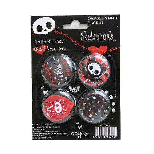 ABYstyle - Skelanimals - ABYACC035 - Loisir Créatif - Pack de 4 Badges Mood Pack - 4 X 5