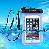 Haweel Caso, Transparente Universal Impermeable Bolso con Correa para iPhone 6 y 6 a Prueba de Agua Plus / 6S & 6S Plus, Samsung Galaxy S6 / S5 / Nota 5, Azul