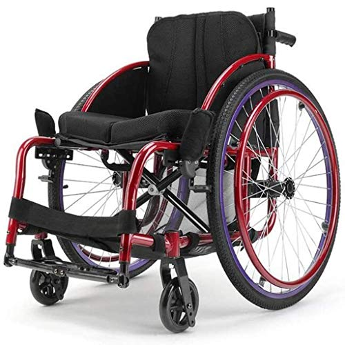Equipo diario Silla de ruedas Ejercicio Atlético Aleación de aluminio Trolley Marco estable Desmontaje rápido Llanta neumática con bolsa de almacenamiento Cojín cómodo Deportes para discapacitados