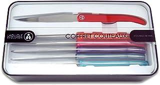 Laguiole Evolution® - Coffret de 6 Couteaux à Steak en Acier Inoxydable - Manche en ABS Couleurs panachées Multicolores - ...