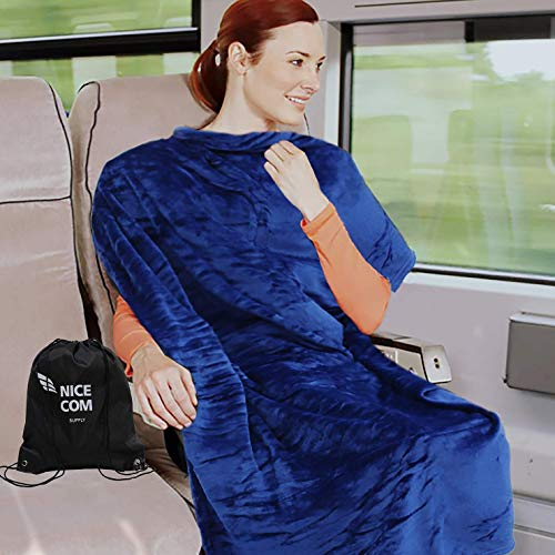 Travel Blanket, for Car, Airplane, Chair, Small Fleece Full Body Cover, 40X60 & Backpack, Portable, Warm Cozy Throw, NICE COM SUPPLY, Navy Blue,