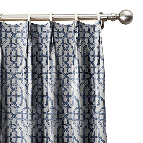 "Neutral Trellis Window Curtains 120"" W x 84"" L, Pinch Pleated Modern Lattice Drapery Panel with Room Darkening Lining (1 Panel), Sapphire Blue, ChadMade"