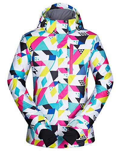 ELETOP Damen Skijacke Winddichte Schneejacke Wasserdichter Snowboard-Regenmante, buntes Dreieck, XS