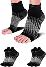 Compression Socks Sleeves (2 Pairs) for Heel Pain Relief, Best Compression Foot Sleeves Socks with Arch Support for Plantar Fasciitis, Heel Pain, Foot & Ankle Support. Injury Recovery for Sports.