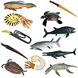 12 Pack Ancient Marine Animal Toy Figures. Plastic Mini Prehistoric Sea Creature Animal Figurines Educational Learning Ocean Animal Toys School Project