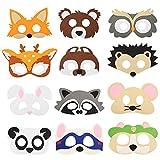 SEELOK 12Pcs Máscaras para niños Animales del bosque Máscara de animales de fieltro Diferentes máscaras de disfraces Fiesta infantil Zoo Tema Favores Fiesta animada Cumpleaños Cosplay Suministros