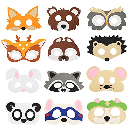 SEELOK 12 Stücke Tiermaske Kinder Filz Masken Tier Kostüm Party Gefallen Cosplay Partymasken Waldtiere Kindermasken für Halloween Karneval Geburtstag Geschenke Dschungelsafari Thema