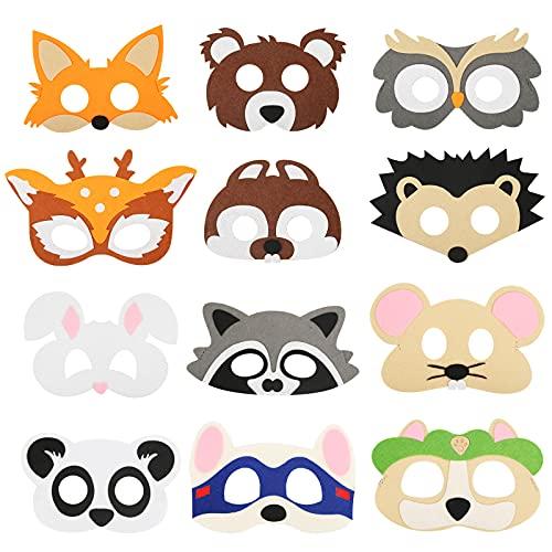 SEELOK 12Pcs Máscaras para niños Animales del bosque Máscara de animales de...