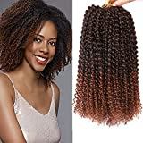 8 Bundles 12 Inches Marlybob Crochet Hair Kinky Curly Crochet Braids Synthetic Ombre Braiding Hair Extension (1B/30#)