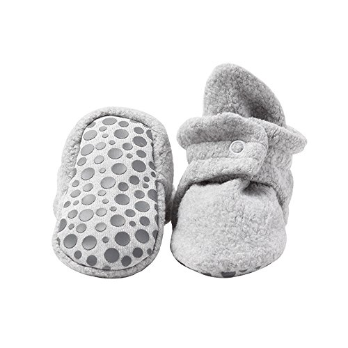 Zutano Cozie Fleece Baby Booties with Cotton Lining and Grippers, Unisex, For Infants, Babies, and Toddlers, Heather Gray, 24M
