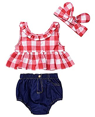 Baby Girls Plaid Ruffle Bowknot Tank Top+Denim Shorts Outfit with Headband (80(6-12M), Red) by
