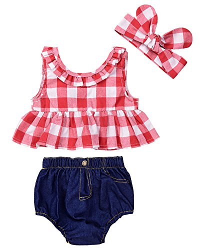 Baby Girls Plaid Ruffle Bowknot Tank Top+Denim Shorts Outfit with Headband (90(12-18M), Red)