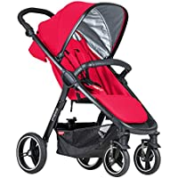 Phil & Teds Buggy V3 Smart City Stroller, Huge Seat, Puncture Proof Tires (Cherry)