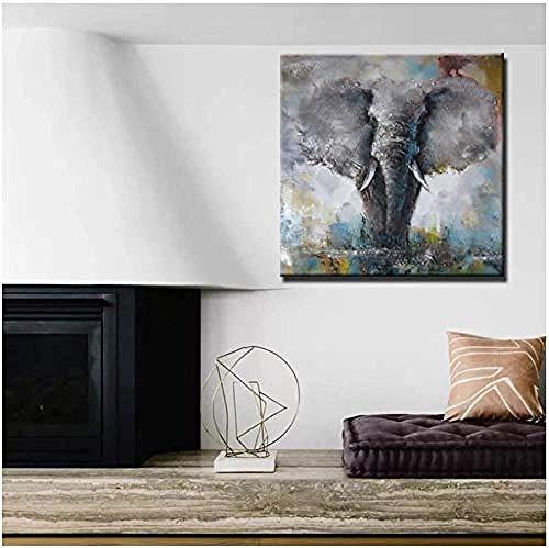 Gvfhj Drucken Sie Wandbild/Ölgemälde auf Leinwand,Wandkunst PosterAnimals Elefanten- und Hirschölgemälde für Wohnzimmer Wohnkultur 80 x 80 cm (31,4 Zoll x 31,4 Zoll) 2-? 2_15,7 Zoll x 15,7 Zoll (40