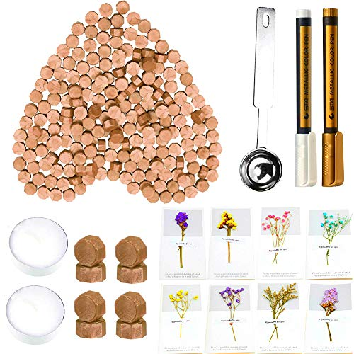 Wax Seal Beads, ANBOSE 300 Pieces Octagon Sealing Wax Beads with 8 Pcs Flower Cards, 2 Pcs Metallic Wax Seal Pen, 2 Pcs Tea Candles and 1 Pcs Wax Melting Spoon for Wax Stamp Letter Sealing (Bronze)