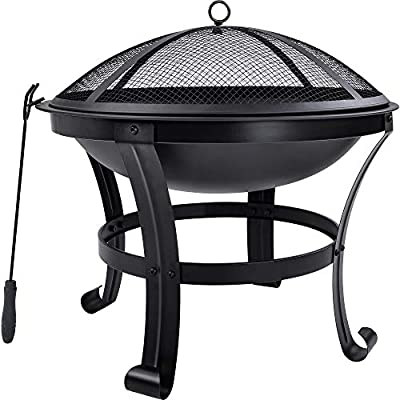 GAOPAN Outdoor Fire Pit with Spark Screen Grid Poker for Backyard Garden Camping Bonfire Patio ,Outdoor Metal Wood Burning Oval Fire Pit Outdoor Steel Wood Burning Fire Pit