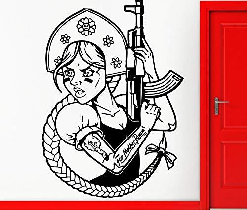 Aicedu vinyl trekker, Russisch, grappig, meisjes, met AK-47, decoratie, militisch, vinyl, zelfklevend, 35 x 42 cm