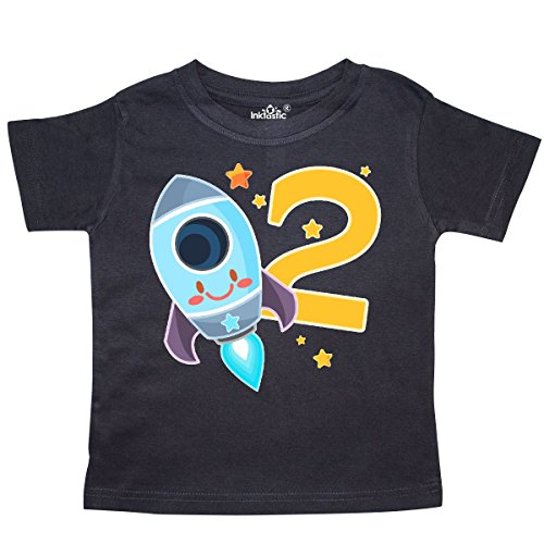 inktastic Rocket Space Ship Happy Second Birthday Toddler T-Shirt 2T Black 2f6ea