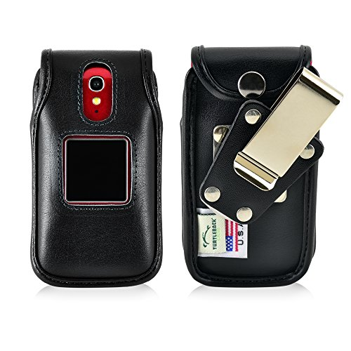 Turtleback Fitted Case for Greatcall Jitterbug Flip Phone Black Leather Rotating Removable Metal Belt Clip Made in USA
