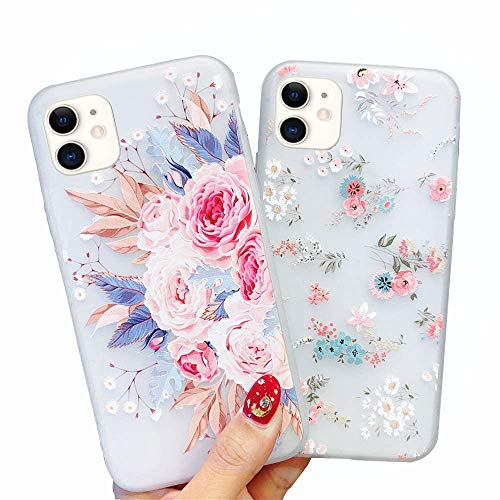 Pepmune 2 Pack for iPhone 11 Case Girls Phone Cases Shockproof Soft Silicone Case Slim Fit Phone Case Fashion 3D Flowers Matte Protective Case Cover for Women