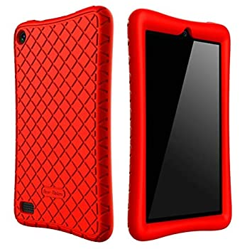 Bear Motion Case for All-New Fire 7 Tablet with Alexa - Anti Slip Shockproof Light Weight Kids Friendly Protective Case for Amazon Kindle Fire 7 2017  ONLY for 7th Generation 2017 Model   Red