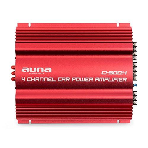 auna C500.4 Sharp Edition - Amplificador Hi-Fi , Transformador de Salida de 4 Canales , Amplificador de Coche , 4x65W de Potencia Media , Regulador de Graves y Agudos , Frecuencia 10Hz-30kHz , Rojo