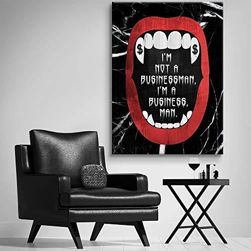 Moderne cultuur canvas schilderij witte tanden rode lippen kunst canvas kunst decoratie muur kunst beeld frameless