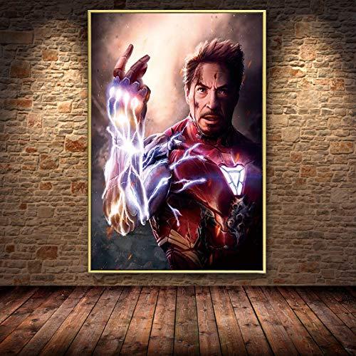 muyichen Feines Iron Man Finger Snap Movie Ölgemälde Auf Leinwand Poster Und Drucke Cuadros Wandkunst Bilder Für Wohnzimmer A699 40X60Cm (Ohne Rahmen)